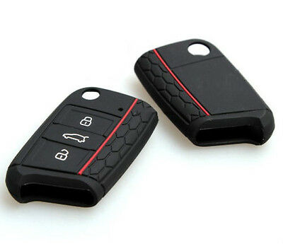 VW Seat Skoda Flip Key Case Cover New 2014 2015 Honeycomb Car Silicone Rubber