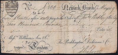 1809 Newark Bank £200 Sight Note * F *