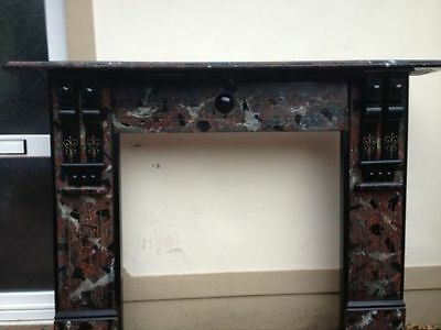 Large Reclaimed Marbleized Slate Fire Surround
