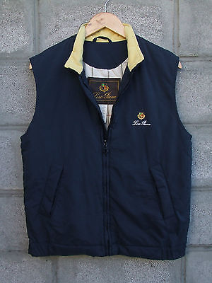 LORO PIANA Mens Quilted Vest Gilet Waistcoat Jacket Full Zip Navy Size M