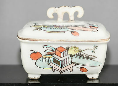 Antique Chinese Hand Painted Porcelain Lidded Bowl Circa 1850s Hallmarked