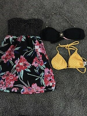 Lot of 3 Items -Roxy Swimsuit Cover / Roxy & Candie's Bikini Tops - Med