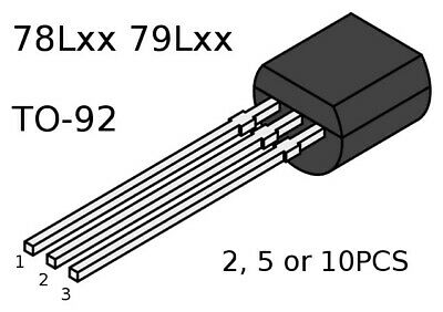 Voltage Regulator Fixed 78LXX 79LXX 100mA T0-92  Pack Size 2, 5, 10