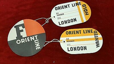 3 Vintage Orient line paper luggage Hold Wanted labels Melbourne lot 1