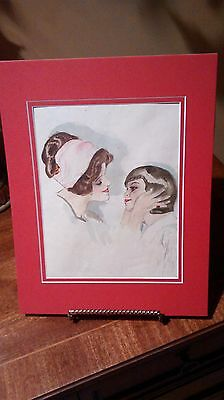 Rare & Vintage Original Artist Drawing By LuLu 1919 Of A Mother & Child