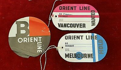 3 Vintage Orient line luggage paper Hold Wanted labels Melbourne