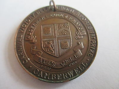 Antique Copper  School Sports Medal Victory Week (Wwi) Camberwell London 1918