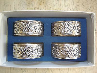 Silverplated Napkin Rings Granada by International Silver Co. (4) Floral Ornate
