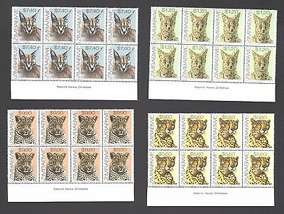 ZIMBABWE 1999 CATS IMPRINT Blocks  MNH