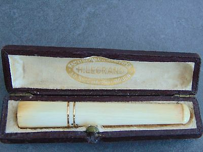 Antique French Ivory Coloured Cheroot Holder Cased