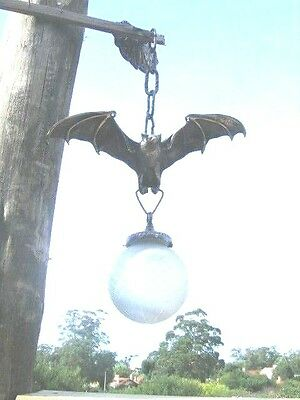 Fabulous GOTHIC Bat Chandelier! Solid Brass Vintage Globe  wOw Goth Medieval