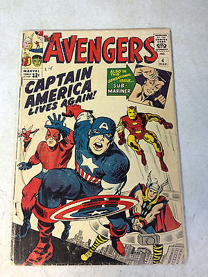 Avengers #4 Key Issue, 1St Silver Age Captain America, 1964, Thor, Iron Man!!
