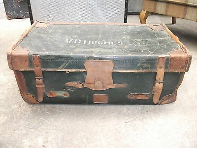 BRASS LOCK & KEY 2' 6 Vintage Leather & Canvas Travel Trunk Suitcase Old Luggage