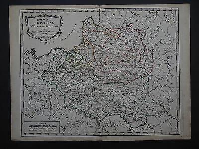 1766 BOURGOIN  Atlas map  POLAND - POLOGNE - LITHUANIE PRUSSE  Lithuania Prussia