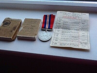 A War Medal 1939-45. Offered With Original Paper Work And In Original Box.