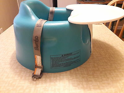Blue Bumbo Seat with Tray and Safety Straps