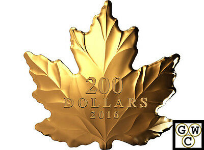 2016 Nature's Pure Form Maple Leaf Shaped Prf $200 Fine Gold 1oz.9999(NT)(17750)