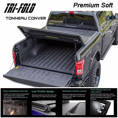 "Fits 2007-2017 TOYOTA TUNDRA Premium Soft Tri-Fold Tonneau Cover 6.5 ft 78"" Bed"