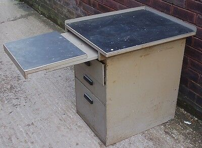 Heavy Duty Vintage Steel Workshop Cabinet Extending Work Top Industrial