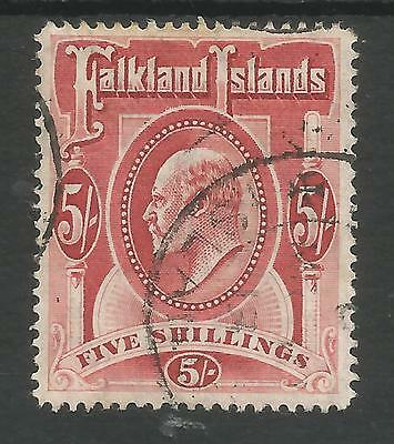 Falkland Is Sg50  The 1904 Evii 5/- Red Fine Used Cat £150