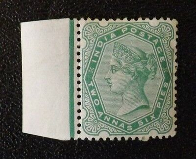 India 1892,Queen Victoria, mounted-mint 4 anna/6 Pies with tag