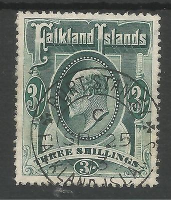 FALKLAND IS SG49b  THE 1907 EVII 3/- DEEP GREEN FINE USED CAT £130