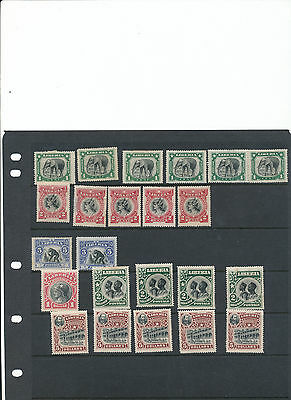 Liberia 1906 selection of mint stamps from the set