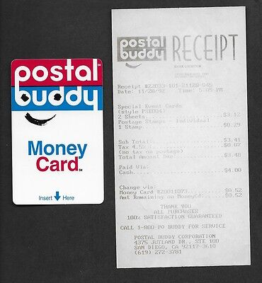 1992 Early Postal Buddy Card with Accompanying Receipt from Fair Oaks Mall Kiosk