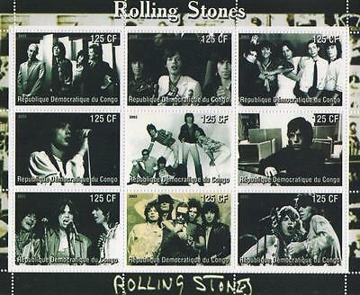 Rolling Stones Mick Jagger Rock N Roll Music Congo 2003 Mnh Stamp Sheetlet