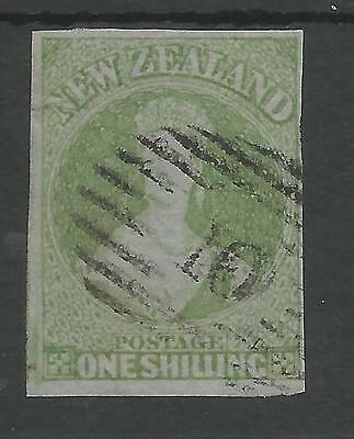 W Zealand Sg6  Rare 1857 1/- Green Imperf On Blue Paper  Fine Used 4 M Cat £3750