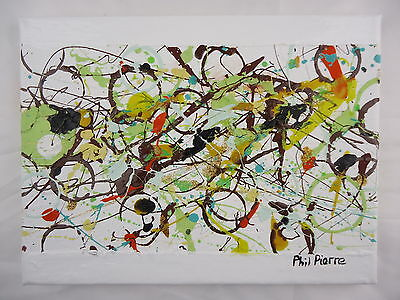Phil Pierre - CHOCOLATE BUBBLES 004 new original abstract art painting on canvas