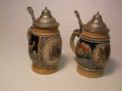 Lot of (2) German Steins Mid Sized Nice Collectors Pieces Excellent Condition