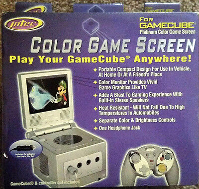 New Intec Platinum Color Game Screen For GameCube Portable Monitor Car Adapter