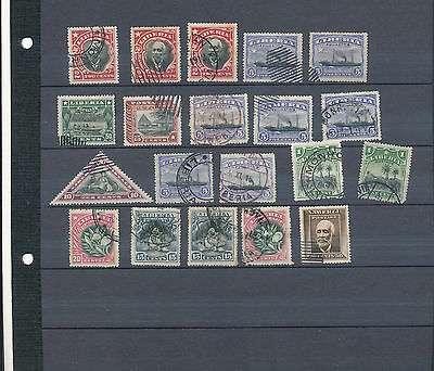 Liberia 1909-12 selection of stamps from the set with cancels