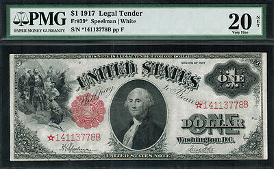 "1917 $1 Legal Tender FR-39* - ""Sawhorse"" ""STAR NOTE"" - Graded PMG 20 NET"