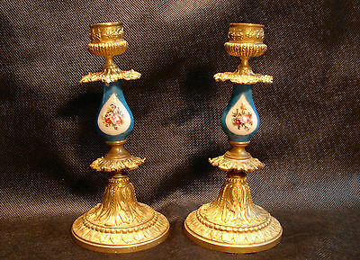 Pair of Candlesticks Bronze and gilt porcelain  Sèvres style