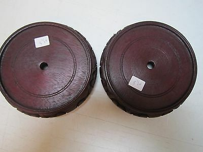Two Oriental Chinese Carved Wood Display Stand Bases