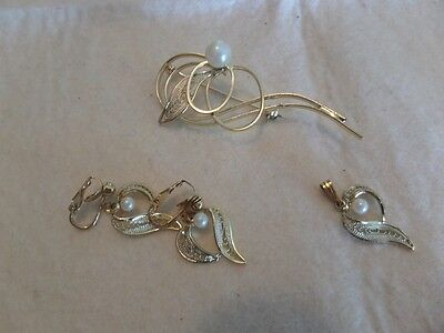 Vintage Gold Tone and Faux Pearl Leaf Pendant, Brooch and Clip Earrings