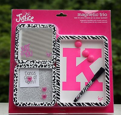 "JUSTICE Girls Letter ""K"" CHEETAH Magnetic Locker Trio Decoration Mirror Initial"