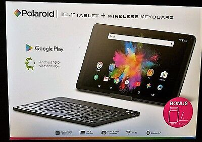 "2016 BRAND NEW Polaroid 10.1"" Tablet   Wireless Keyboard Android 6.0 Marshmallow"
