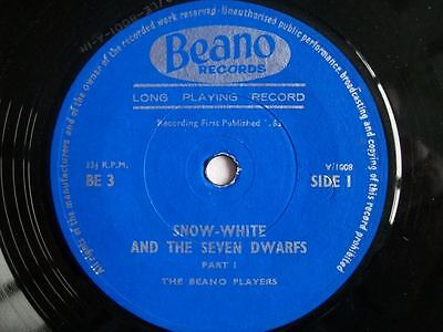 """BEANO PLAYERS Snow White and the Seven Dwarfs 7"""" 45 Sound sample in listing"""