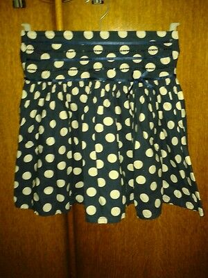 Girls cotton navy blue with cream spot gathered full skirt 7 years holiday party