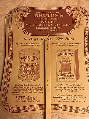 Vintage Advertising Fan Old Reliable Bruton's Snuff - Bruton Paper Fan