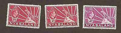 Nyasaland GVI 1938 part set of 3, lmm, fine, cat £11