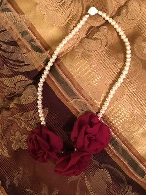 Gymboree CHRISTMAS Dressy Pearl Necklace RED ROSES