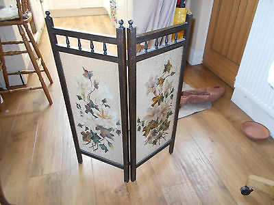 Vintage Double Wooden Surround Painted Glass Fire Screen