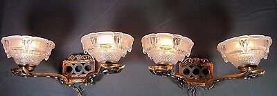 Ezan Sconce Pair: French Art Deco Antique 1930 Wall Lamp Signed Fixture
