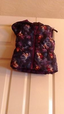 Girls Lovely Frozen Zip Up Hooded Gilet/Bodywarmer Age 5-6 Years EXCELLENT