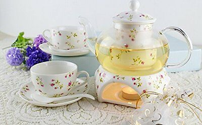 Tea Maker Teapot Porcelain Warmer Candle 2 Cup Set Pot 27 oz Saucer Spoon