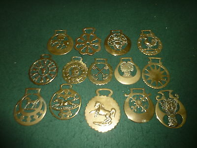 Job Lot of 14 Antique Victorian Horse Brasses Some Stamped Cast Rare Patterns